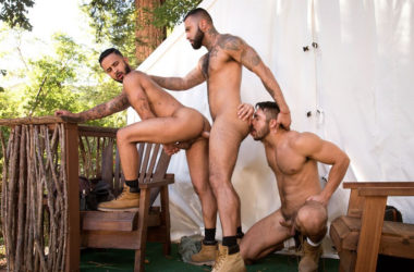 "Seth Santoro, Damian Taylor & Rikk York fuck in ""Trapped"" part 5 from Raging Stallion"