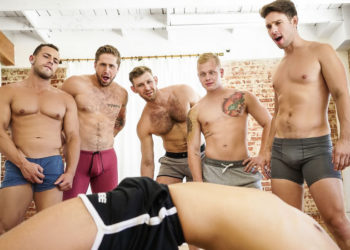 Arad, Wesley, Leon, Casey, Jacob and Leo in a 6 guy yoga orgy from Men.com