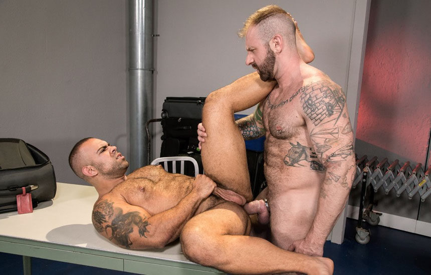 "Aleks Buldocek drills Lorenzo Flexx's hairy ass in ""TSA Checkpoint"" part three"