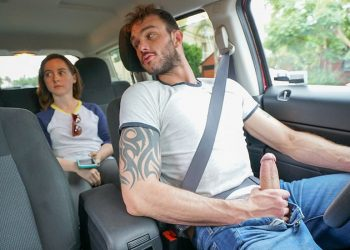 Cliff Jensen plays with his big cock while driving a woman around