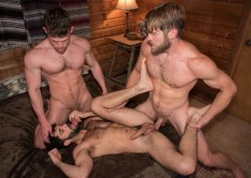 """Colby Keller fucks Tegan Zayne and Kurtis Wolfe in """"Trapped"""" part six"""