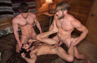 "Colby Keller fucks Tegan Zayne and Kurtis Wolfe in ""Trapped"" part six"