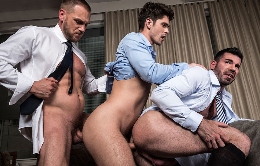 "Hans Berlin, Devin Franco & Billy Santoro fuck in ""Gentlemen 21: Top Management"""