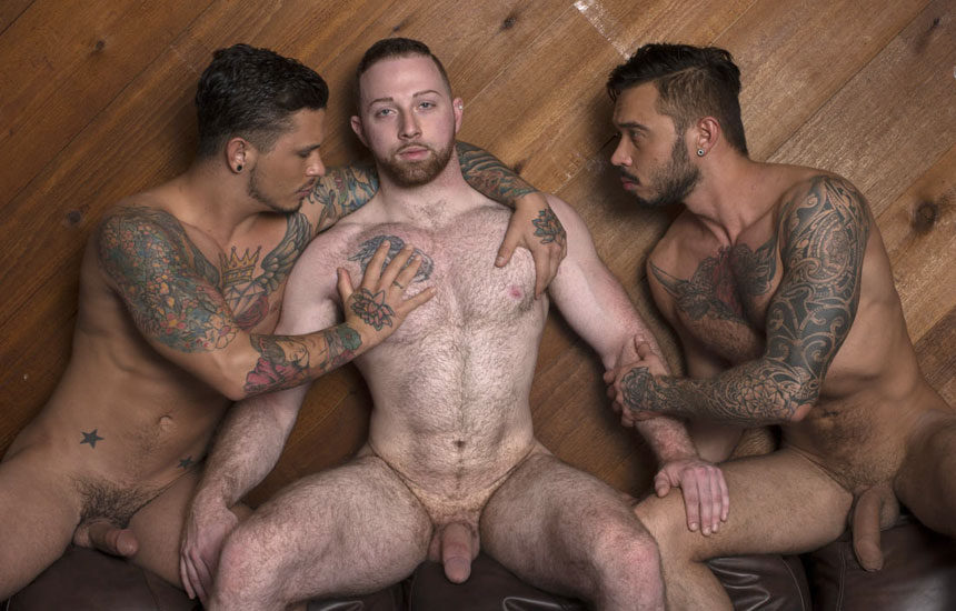 Sean Knight joins Seth Knight and Cris Knight for a bareback threesome