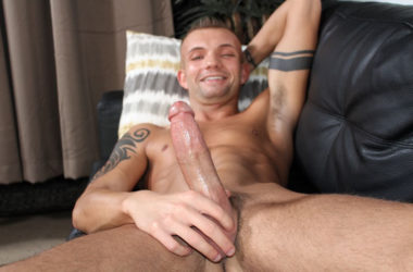 New recruit Leo Wyatt strokes his big strong cock for Active Duty