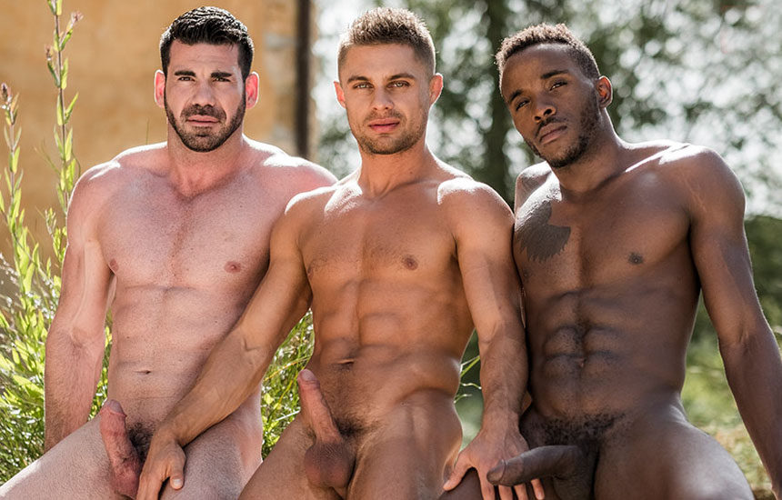 Pheonix Fellington, Billy Santoro and Klim Gromov in a bareback threesome