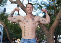 Muscle jock Quentin Gainz jerks off and plays with his favorite toys at Active Duty