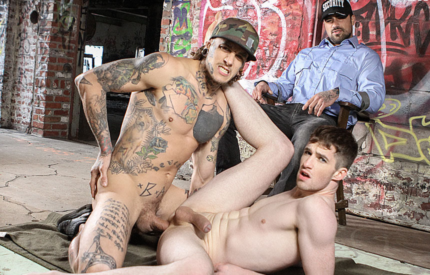 Bo Sinn raw-fucks Thyle Knoxx and forces security watch Ryan Bones to watch them