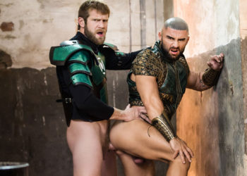 "Colby Keller fucks Francois Sagat in the 2nd scene from the ""Justice League"" porn parody"