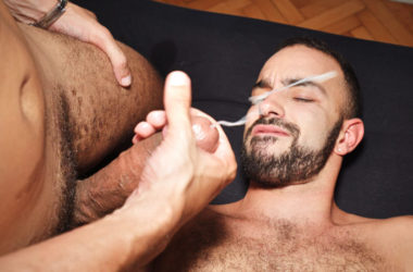 Francisco Sants barebacks Dano Guerre and gives him a thick facial