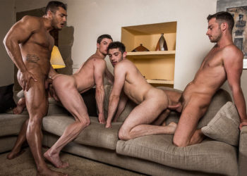 Damon Heart, Brock Magnus, Ben Batemen and Ruslan Angelo in a bareback foursome