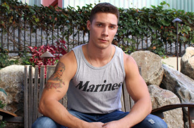 Big-dicked recruit Spencer Laval jerks off and blasts a thick load at Active Duty