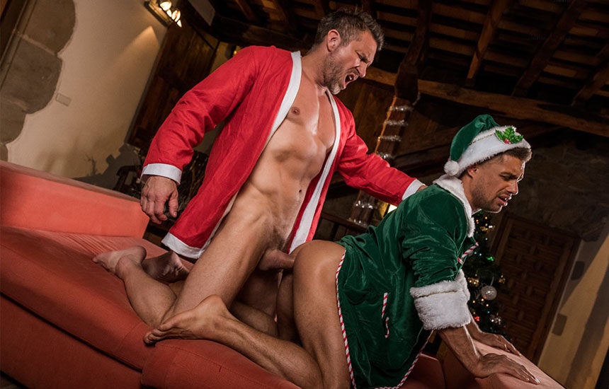Hung Santa Tomas Brand raw-fucks Klim Gromov Elf's ass at Lucas Entertainment
