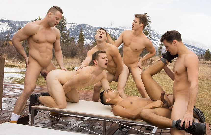 """Dillan, Jack, Asher, Deacon, Malcolm and Lane fuck in """"Wyoming Getaway"""" part 4"""