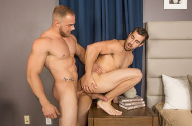 Blond muscle hunk Brock fucks Randy's bare ass at Sean Cody