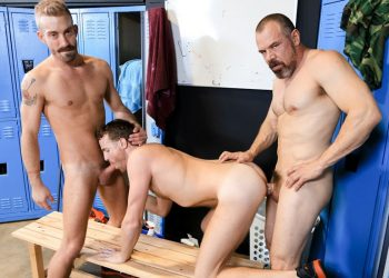 Coach Max Sargent fucks Jack Gunther and Jett Rink in a locker room threesome
