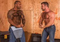 """Masculine studs Daymin Voss and Liam Knox fuck each other in """"Beef"""" part one"""