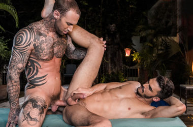 "Aaden Stark takes Dylan James' raw cock in ""Fit As Fuck"" part 4 from Lucas Entertainment"