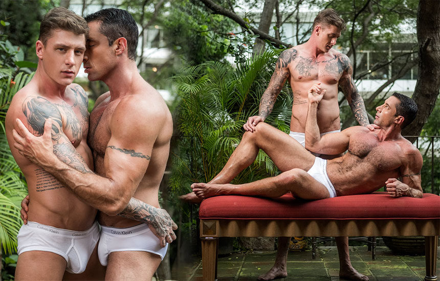 """Geordie Jackson pounds Nick Capra in """"Fit As Fuck"""" part one from Lucas Entertainment"""
