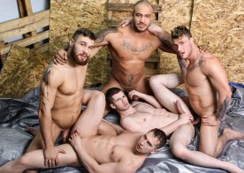 William, Jason and Morgan fuck Joey Mentana and Thyle Knoxx in Men at Work