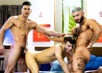 "Paddy O'Brian, Francois Sagat and Allen King fuck in ""Sex God"" part three"