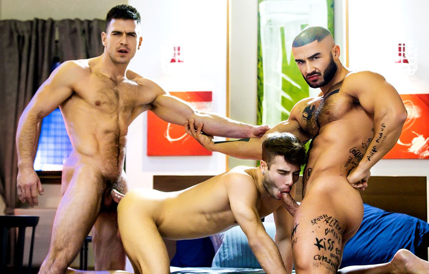 """Paddy O'Brian, Francois Sagat and Allen King fuck in """"Sex God"""" part three"""