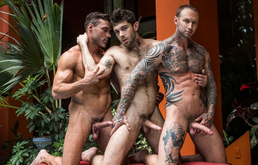"Manuel Skye and Dylan James double-fuck Ben Batemen in ""Daddy's Play Thing"" part 2"