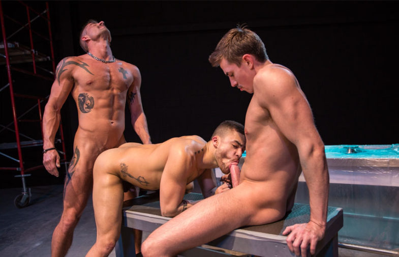 "Sean Maygers, Jack Hunter and Beaux Banks fuck in ""VICE"" part 2 from Raging Stallion"