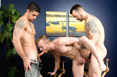 "Archer Hart gets fucked by Mark Long and Jason Richards in ""Loose Up Audition"""