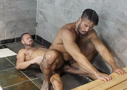 """Trey Turner takes Michael Roman's raw cock in """"Shower Breeders"""" from Bromo"""