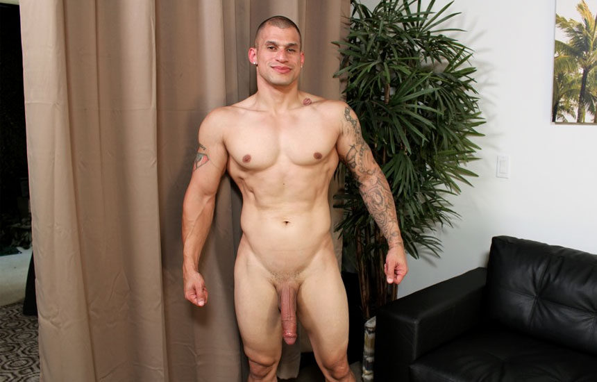 Big newcomer Rico strokes his huge uncut cock for Active Duty