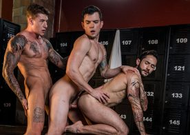 """Rod Fogo and Dakota Payne share Geordie Jackson's cock in """"Daddy's Play Thing"""" part 3"""