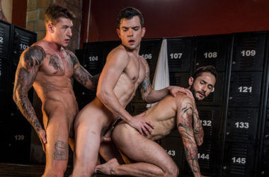 "Rod Fogo and Dakota Payne share Geordie Jackson's cock in ""Daddy's Play Thing"" part 3"