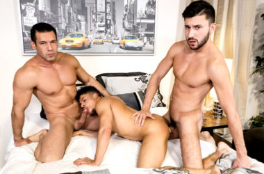 Big dicked couple Scott DeMarco and Alexander Garrett fuck Armond Rizzo