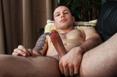 Tim Tank plays with his beefy cock in his Active Duty solo debut
