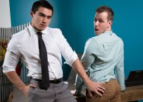 """Blake Hunter bottoms for newcomer Axel Kane in """"Office Offenders"""" from Next Door Studios"""