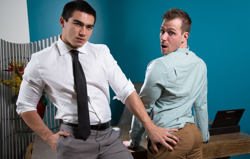 "Blake Hunter bottoms for newcomer Axel Kane in ""Office Offenders"" from Next Door Studios"