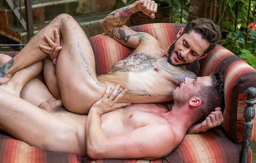 Inked hunk Rod Fogo takes Damon Heart's raw dick at Lucas Entertainment