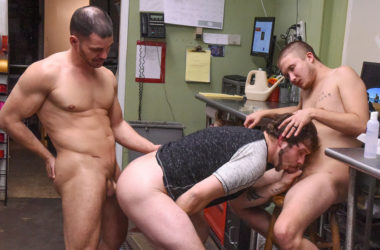 "Brent Walker, Brogan Reed & Justin Dickson in ""Dudes in Public 20 – Flower Shop"""