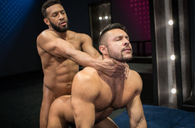"Big-dicked muscle top Jay Landford fucks Seth Santoro in ""Shut Up and Fuck Me!"""