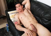 Latin recruit RJ works his uncut cock in his solo debut for Active Duty