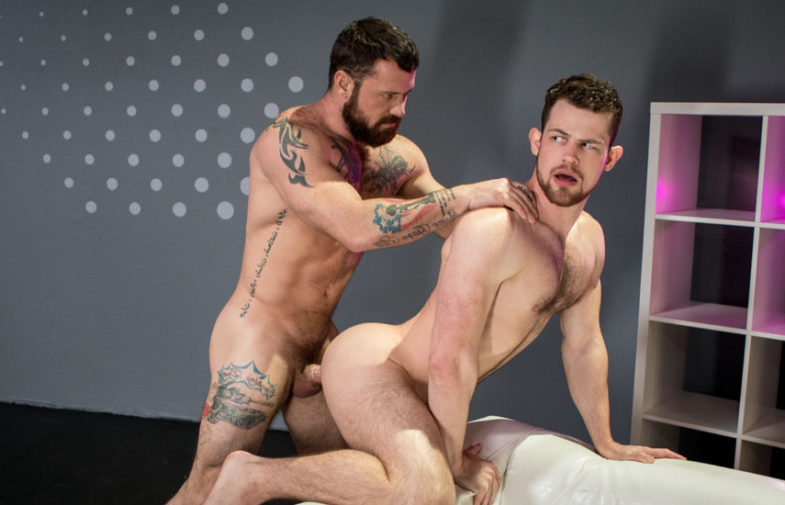 """Muscle daddy Sergeant Miles fucks Kurtis Wolfe in """"Shut Up and Fuck Me"""" part one"""