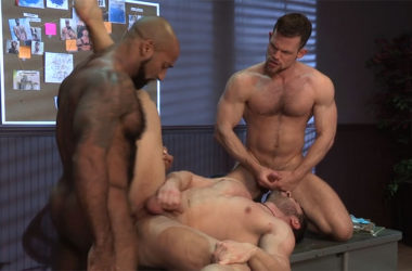 "Daymin Voss and Kurtis Wolfe spit-roast Derek Bolt in ""VICE"" part 5 – Raging Stallion"
