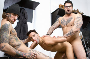 "Bo Sinn and Ryan Bones raw-fuck Alex Neveo in ""Winter XXX Games"" part three"