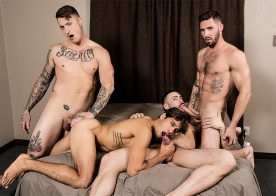 "Blaze Burton, Carlos Lindo and Dane Stewart fuck Titus in ""Bukkake Bitch"" from Bromo"