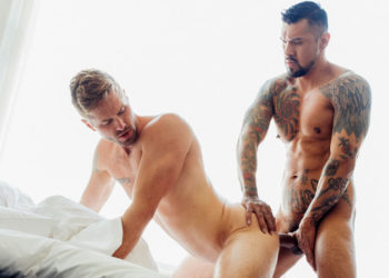 Wesley Woods and Boomer Banks in a bareback flip-fuck scene from CockyBoys