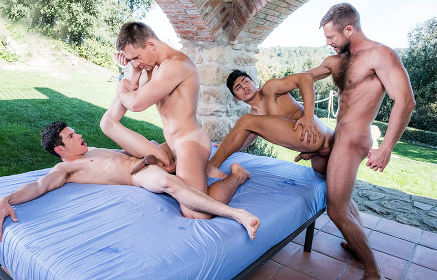 """Bulrog and Andrey Vic fuck Ricky Verez and Ken Summers in """"Fag Fuckers"""" part 4"""