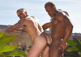 Ridder Rivera breeds Damien Crosse in a hot outdoor scene from TimTales