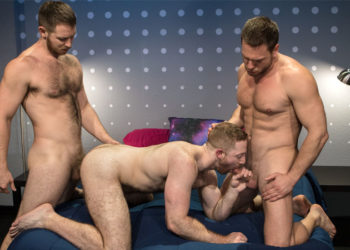 "Hans Berlin and Spencer Whitman spit-roast Sean Knight in ""Shut Up and Fuck Me"" part 6"