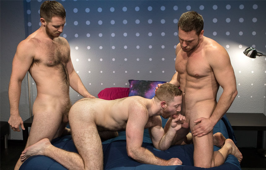 """Hans Berlin and Spencer Whitman spit-roast Sean Knight in """"Shut Up and Fuck Me"""" part 6"""